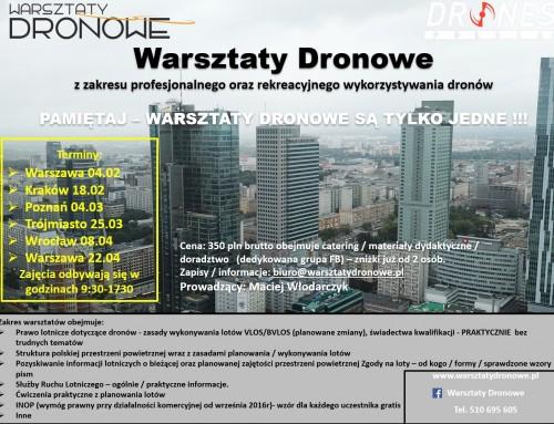Już od lutego ruszamy z kolejną edycją Warsztatów Dronowych!!!